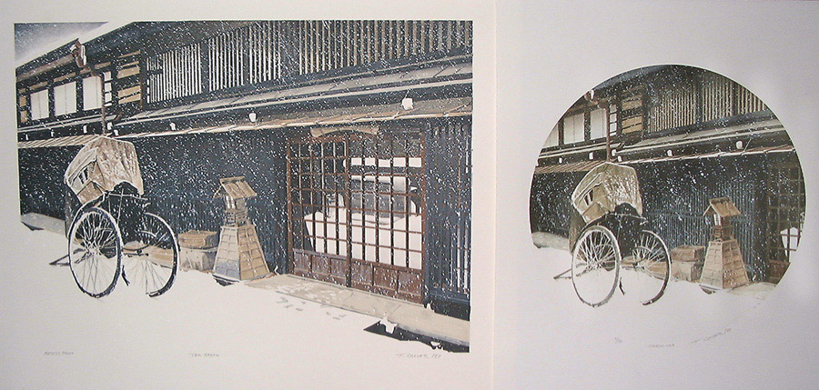 The work on the left is  Tea Break  (1987) created with traditional lithograph on metal plates. On the right is  Jinrikisha  (1998) created with CEAHD ... & CEAHD Lithography - Ted Colyer